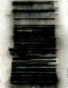 Carbon deposits and white gloss paint on paper.